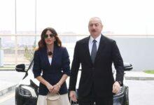 Photo of İlham Əliyev və Mehriban Əliyeva Pirşağı qəsəbəsində
